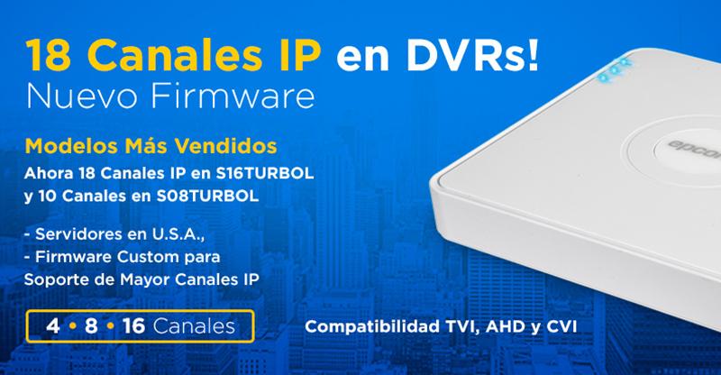 18 Canales IP en DVRs